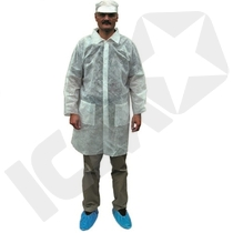 Kittel m. Taschen PP40 g/m2, Weiß