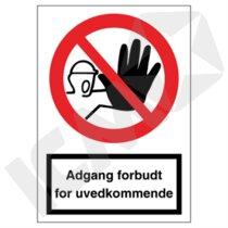 F100VA4 Adgang forbudt for uvedkommende  A4